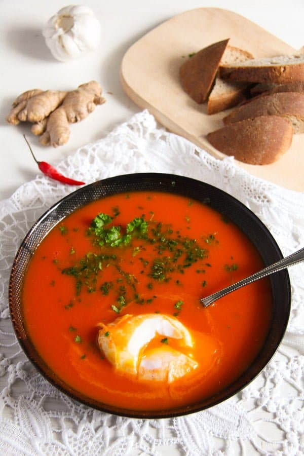 tomato soup 5 Spicy Tomato Ginger Soup with Poached Eggs