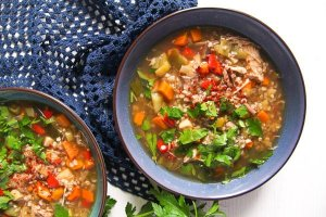 %name Healthy Turkey or Chicken Buckwheat Soup with Vegetables