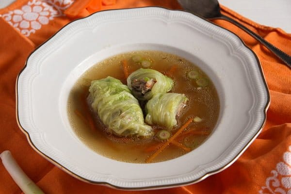 cabbage rolls asian 2 Asian Stuffed Napa Cabbage Leaves in Chicken Ginger Broth