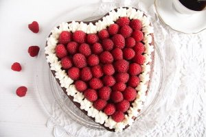 %name Heart Shaped Cheesecake with Raspberries and Whipped Cream