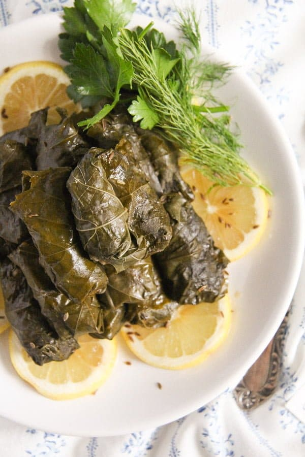 vine leaves fish 4 Stuffed Vine Leaves with Fish, Bacon and Rice