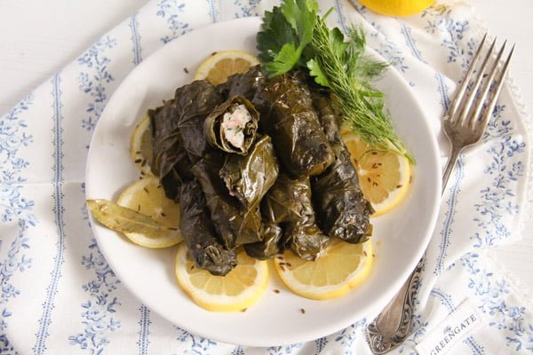 vine leaves fish 5 Stuffed Vine Leaves with Fish, Bacon and Rice