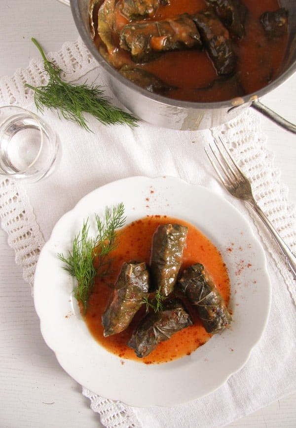 vine leaves meat 2 Stuffed Vine Leaves with Ground Meat and Rice