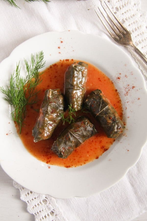 vine leaves meat 3 Stuffed Vine Leaves with Ground Meat and Rice