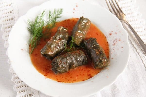 vine leaves meat 4 Stuffed Vine Leaves with Ground Meat and Rice
