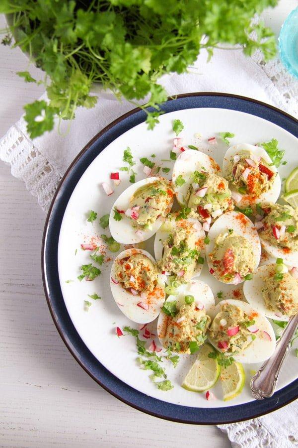 deviled eggs guacamole 12 Deviled Eggs with Mexican Avocado/ Guacamole Filling