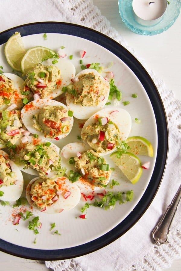 deviled eggs guacamole 8 Deviled Eggs with Mexican Avocado/ Guacamole Filling