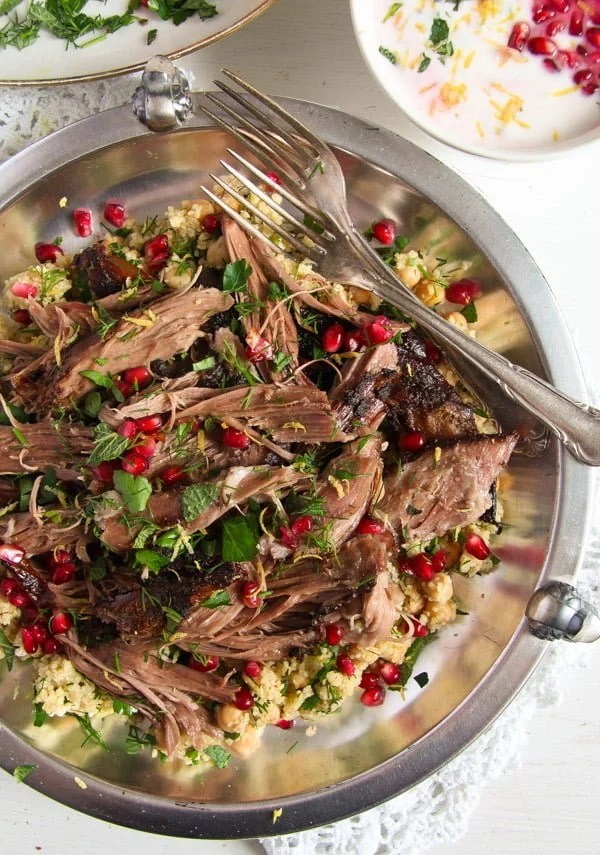 lamb 2 Slow Cooked Shoulder of Lamb with Mint Pomegranate Yogurt