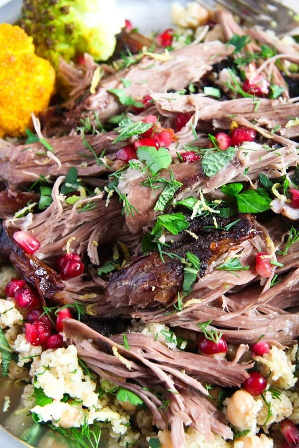 lamb 5 Slow Cooked Shoulder of Lamb with Mint Pomegranate Yogurt