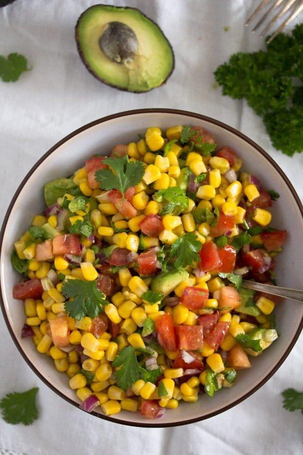 avocado corn salsa 3 Avocado and Tomato Salsa with Corn – Mexican Recipe