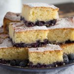 squares of blueberry sour cream cake