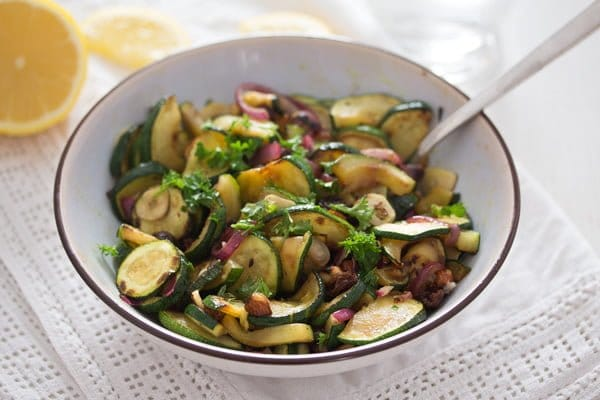 bowl of sauteed zucchini