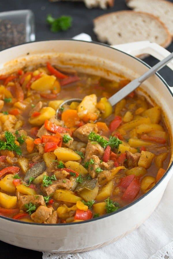 pork stew 4 Easy Pork Stew Recipe – Hungarian Goulash with Pork and Potatoes