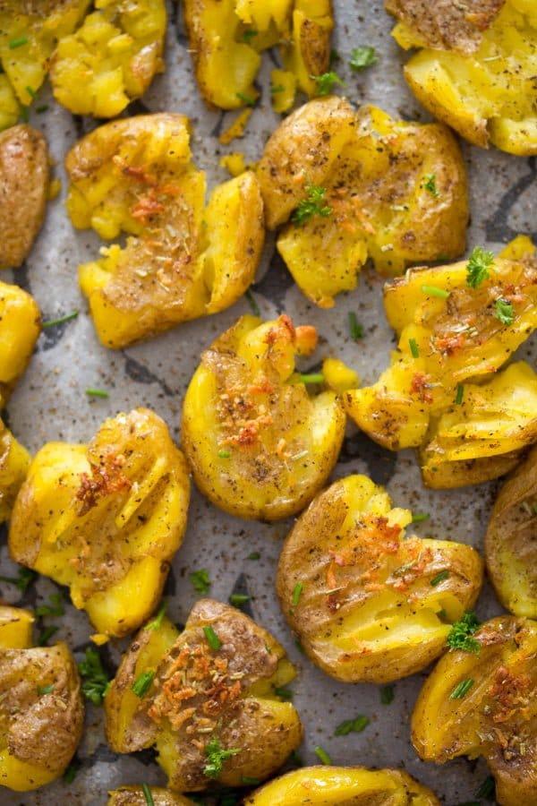 smashed potatoes 1 How to Make Garlic Smashed Potatoes – Potato Side Dishes