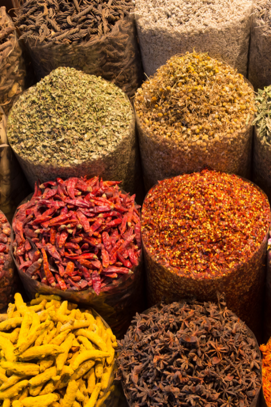 Spices at a local market in Tanzania