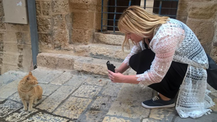 me taking photo of cat in Israel Three UK