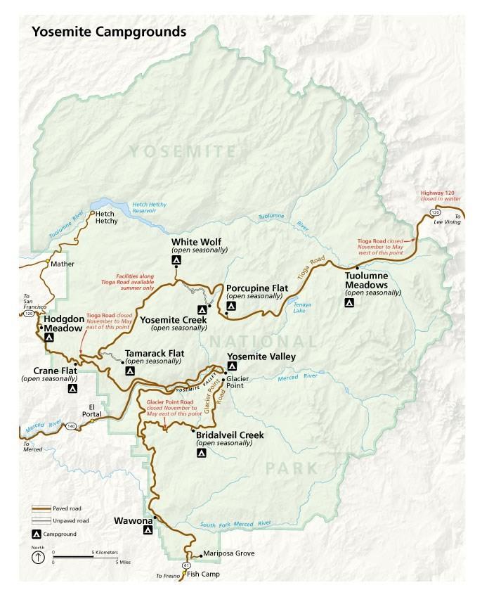 Yosemite campgrounds map Yosemite Falls 2 days in Yosemite National Park Yosemite itinerary