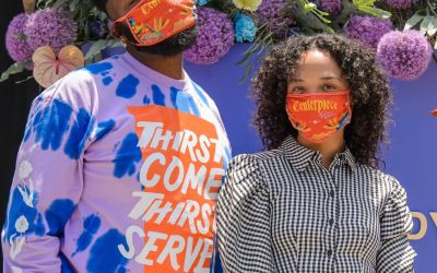 TESSA THOMPSON ATTENDS UNVEILING OF 'I AM SOMEBODY' FLORAL INSTALLATION DEDICATED TO VICTIMS OF POLICE BRUTALITY CREATED BY MAURICE HARRIS, HOST OF QUIBI'S CENTERPIECE