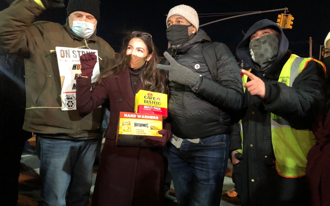 Rep. Alexandria Ocasio-Cortez Attends Produce Workers Union Protest