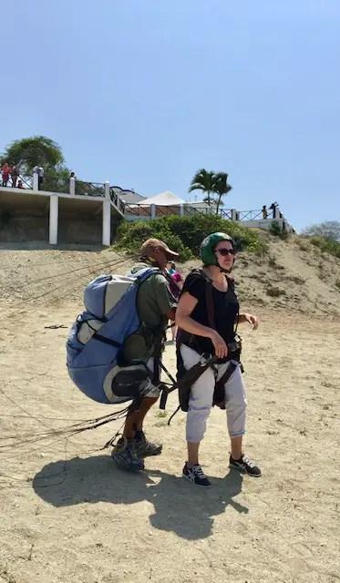 getting ready to take off - paragliding in Crucita, Ecuador