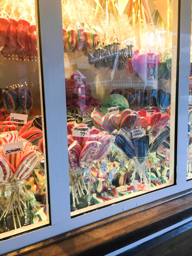 candy display at Tivoli Gardens in Copenhagen, Denmark