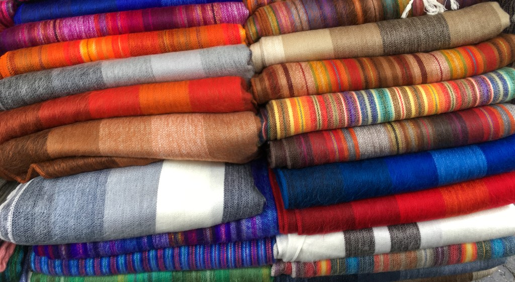 Textiles at the market in Otavalo