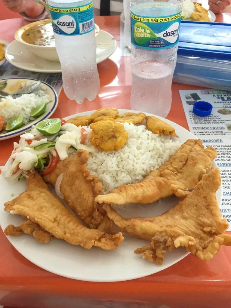 fried fish plate in Ecuador