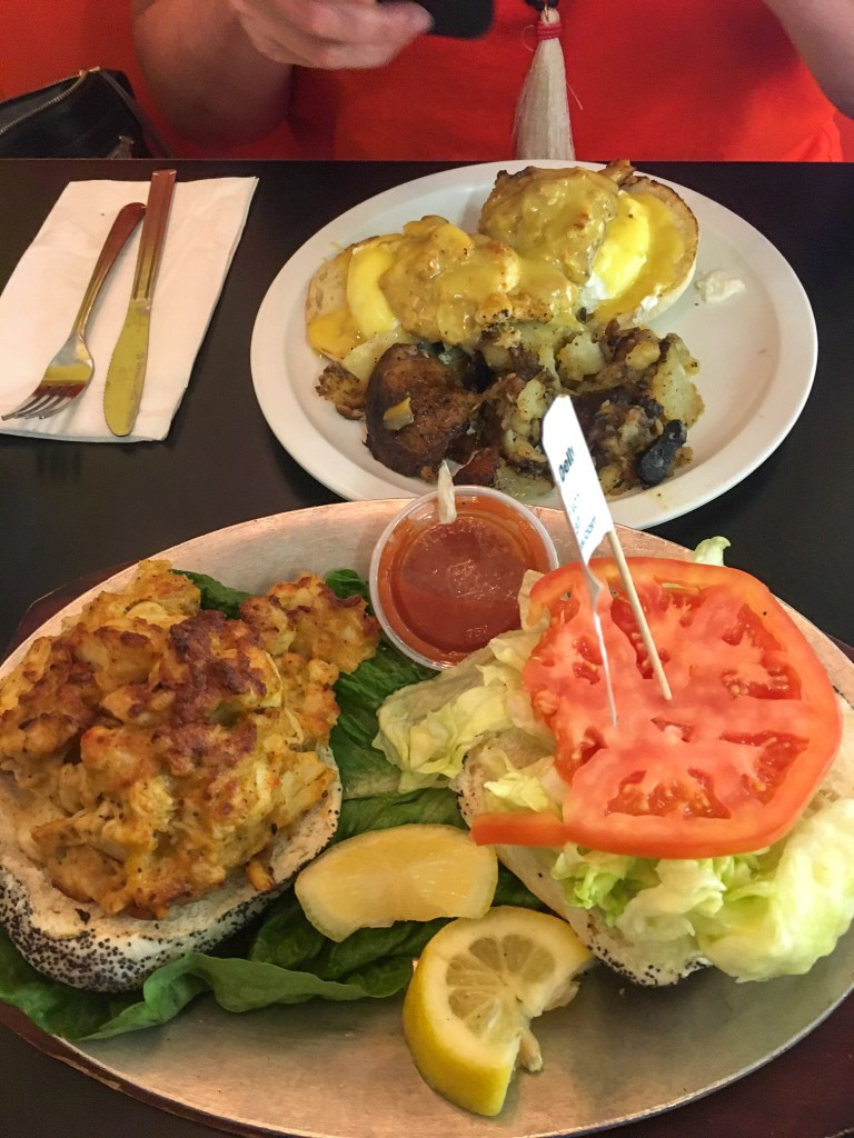 Crab Cake Sandwich and Crab Eggs Benedict at Chick & Ruth's Delly in Annapolis, Maryland