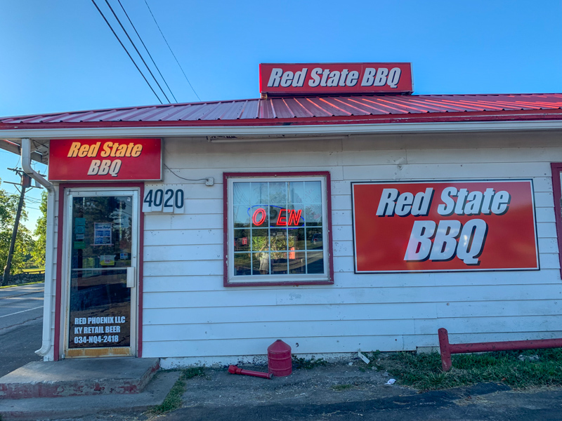 Exterior of Red State BBQ restaurant in Lexington, KY.  Great restaurant in Lexington near the Kentucky Horse Park.