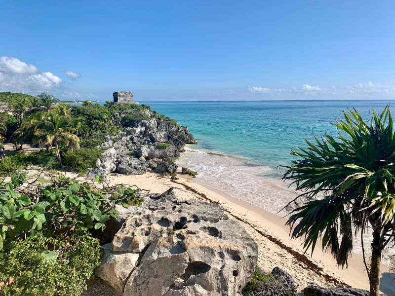 View of ocean from ruins in Tulum, Mexico.