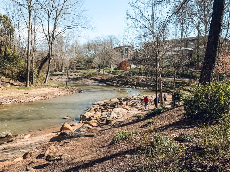 Swamp Rabbit trail along the Reedy River in downtown Greenville, SC.  Taking a bike ride or walk along the Swamp Rabbit trail is one of the many fun things to do in Greenville, SC.