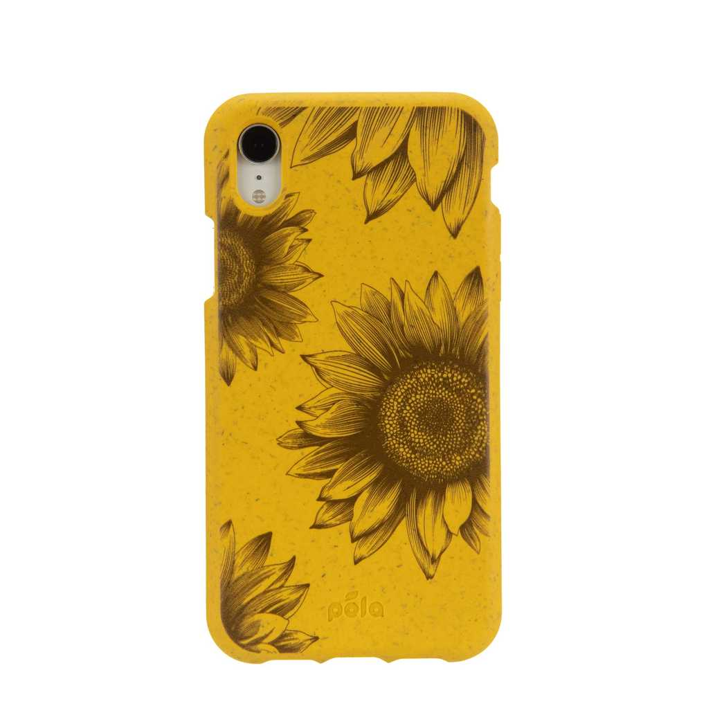 Yellow phone case cover with sunflowers. A great eco-friendly gift to give!