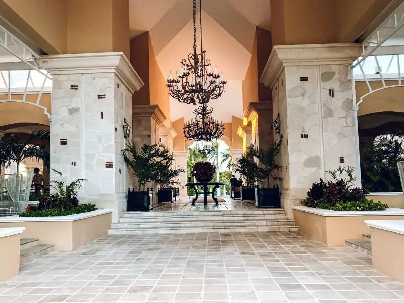 The elegant lobby at the Royal Hideaway Playacar resort.