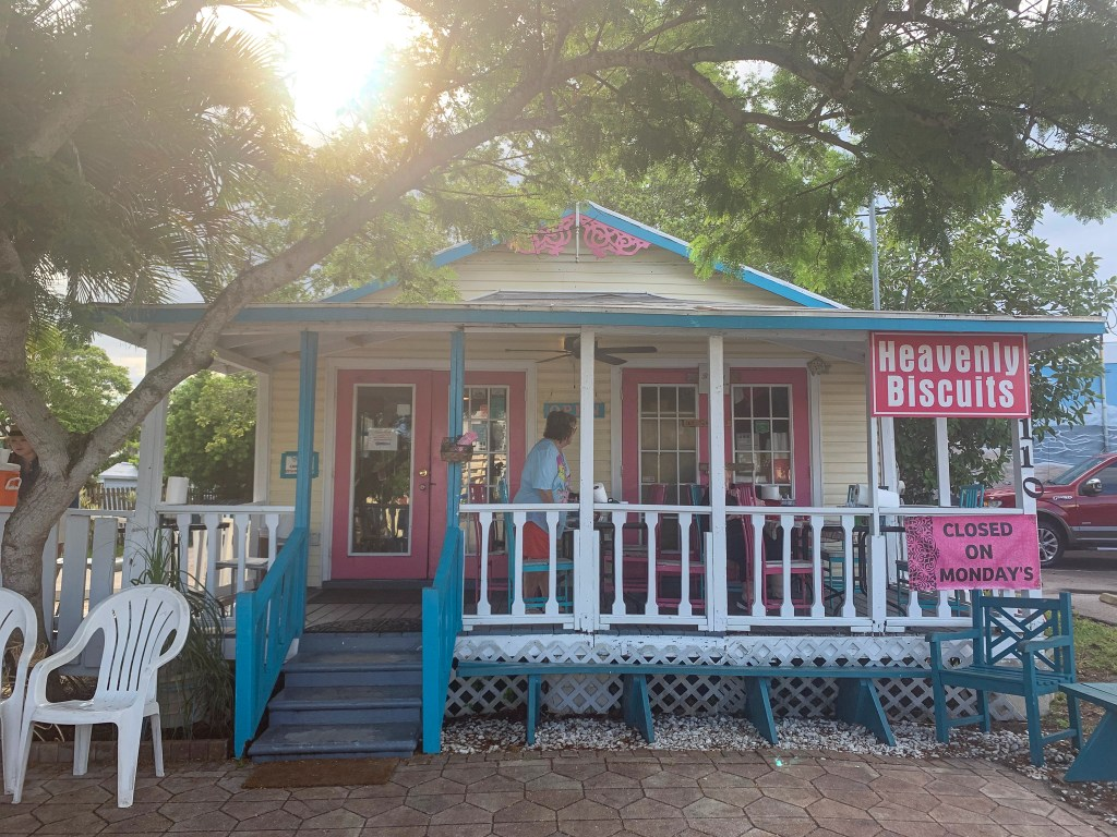 Small house painted in colorful inks and blues, the Heavenly Biscuit is the best place to get breakfast in Ft Myers Beach