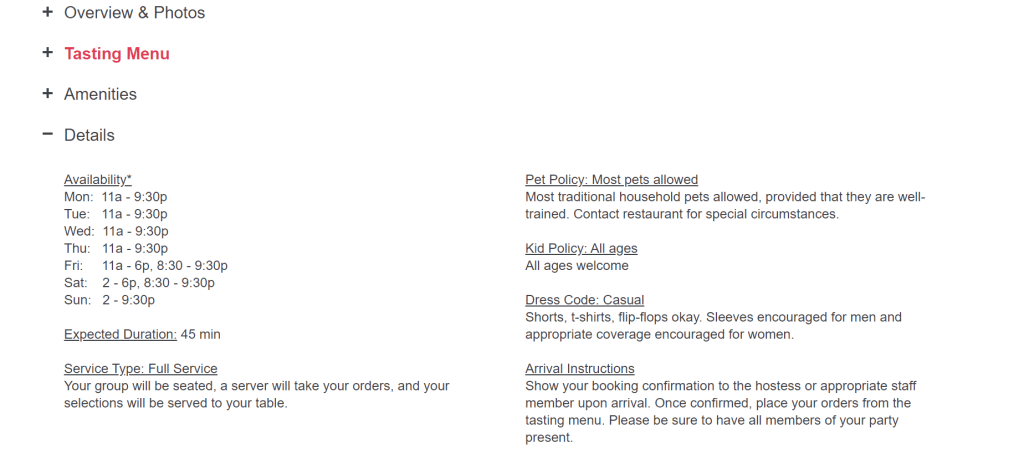 Screenshot of self-guided San Diego tour information from TastePro