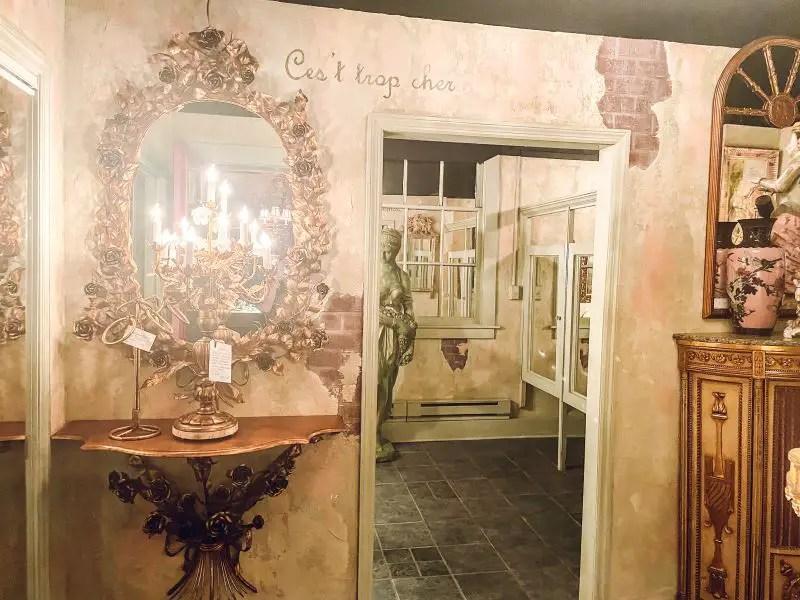 Opulent antiques inside Irish Acres antiques gallery near Lexington, Ky