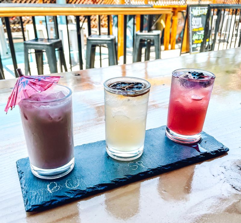 Flight of cocktails enjoyed during a stop at 619 Spirts using Six One Nine Vodka. Self-guided food tour in San Diego.