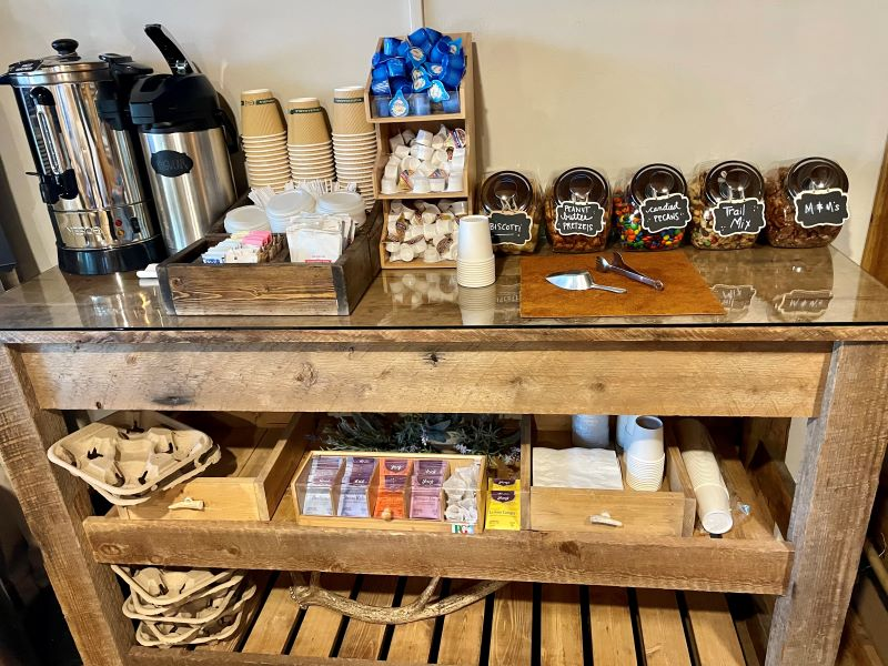 Coffee and snack station in lobby of hotel in West Yellowstone