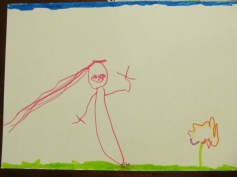 Costanza made this drawing for my post: that's me picking flowers in the countryside