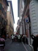Rossini Street and Gioachino Rossini's birthplace on the left