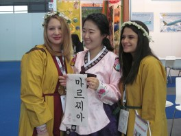 That's the Korean calligrapher in the middle