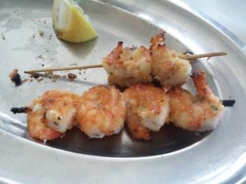 Squid and shrimp skewers