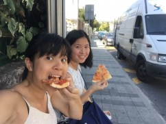 Played Game of Thrones-themed escape room game. The bus going back left us (literally ran for it..) so might as well have some pizza in the sweltering heat.