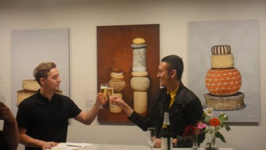 Our hosts Antonie and Hubert toast before the fun begins.
