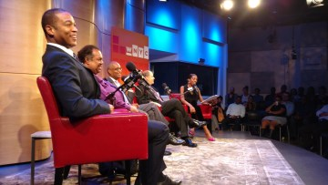 The panel shares a light-hearted moment at Greene Space WNYC © Tokyo Racer for WhereNYC