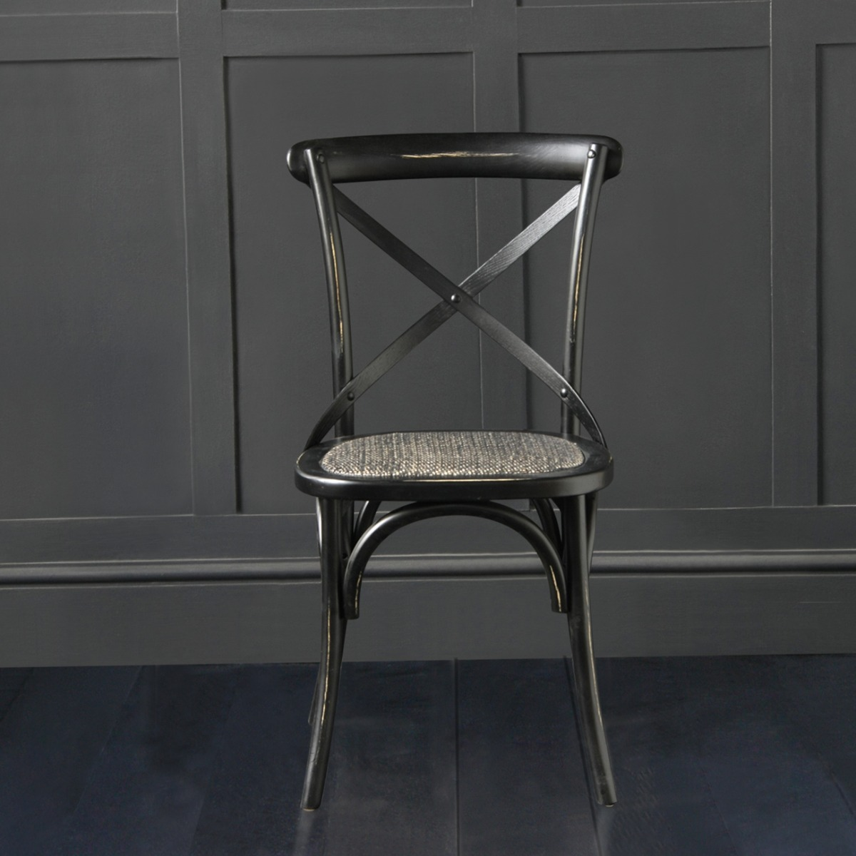 French Cross Back Bentwood Dining Chair Cafe Restaurant Kitchen Bistro Metal Cross Back Black