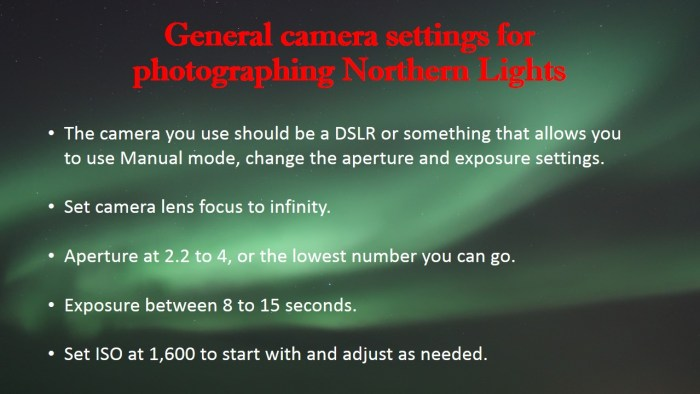 northern lights camera settings