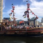 Big tourist ship in Baltimore Harbor - the Fearless, with National Aquarium in background