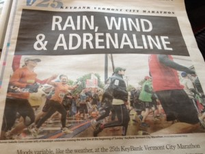 Local paper coverage of the Vermont City Marathon 2013