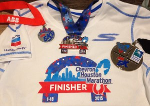 Houston Marathon 2015 shirt and medals